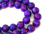 20 purple confetti beads, 10mm violet glass spatter beads, speckled, party beads
