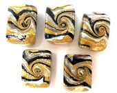 5 gold, dark brown and white swirled beads, lampwork glass rectangular beads, multicolor, earth tones lampwork beads