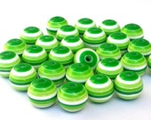 Green and white striped beads, 12mm, qty 20