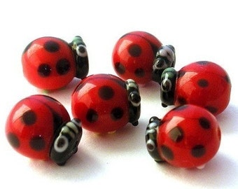 6 TINY red and black ladybug beads, lampwork glass, tiny 10x9mm