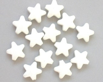 20 white porcelain star beads, 15x15mm