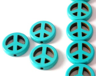 20 turquoise magnesite peace sign beads, 15mm double sided