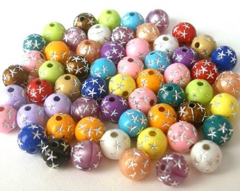 60 multicolored acrylic star beads, 8mm random mix round colorful stars