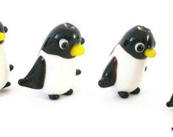 Penguin beads, 3 cute penguin beads, lampwork glass penguin beads