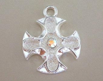 Iron Cross pendant, AB Swarovski crystal
