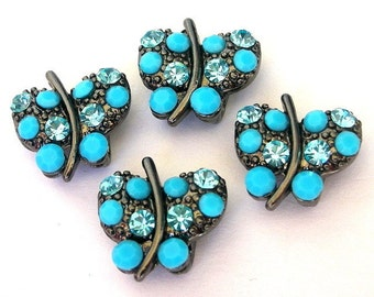 2 TINY turquoise butterfly 2 hole slider beads, beautiful little butterfly spacer bars, animal blue