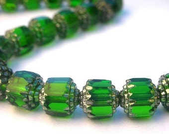 15 emerald cathedral beads, 6mm Czech fire polish glass beads, Christmas beads