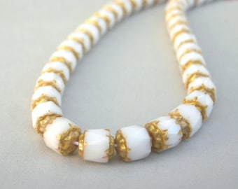 White and gold cathedral beads, 6mm Czech glass, qty 14
