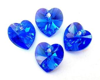4 Sapphire AB Swarovski crystal heart pendants, 10mm