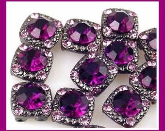4 amethyst purple 2 hole slider beads, purple cubic zirconia two hole beads