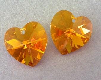 Topaz AB crystal heart pendants, 14mm Swarovski crystal hearts, qty 2