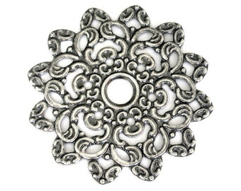 3 large focal components, 47mm antiqued silver flower
