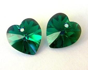 Emerald AB crystal heart pendants, 14mm green Swarovski crystal pendants, qty 2