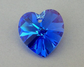 Sapphire blue AB 18mm heart pendant, Swarovski crystal, sparkly deep blue, wedding jewelry supply, qty 1