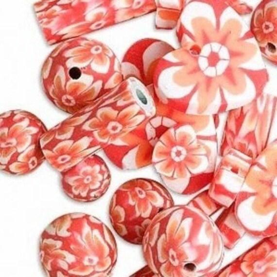 Orange polymer clay bead mix, floral, qty 24