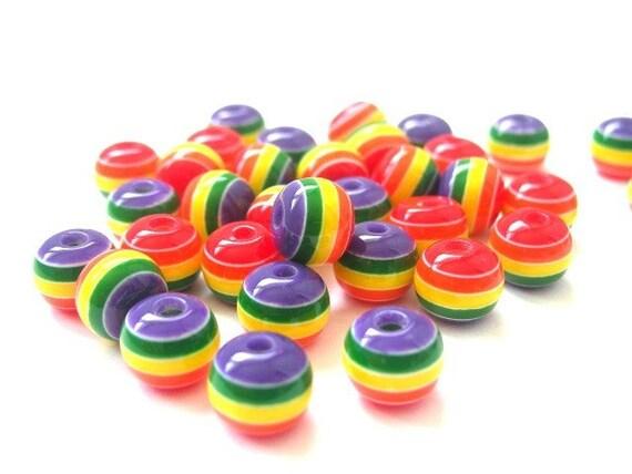 40 rainbow striped beads, TINY 6mm round, last set