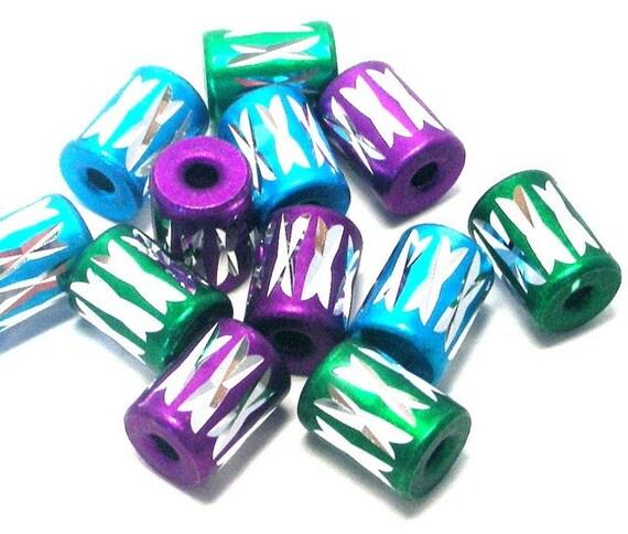 Metallic beads, purple, turquoise, green aluminum, Qty 12