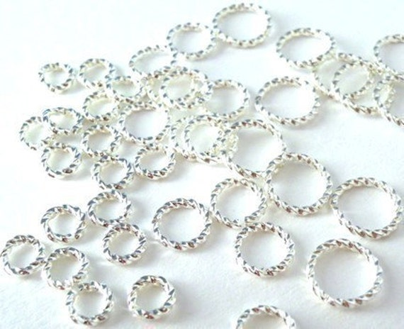 48 silver plated open jump ring mix, fancy textured