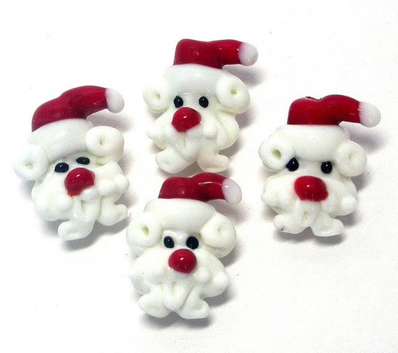 4 Santa beads, lampwork glass, Christmas beads, Santa face beads