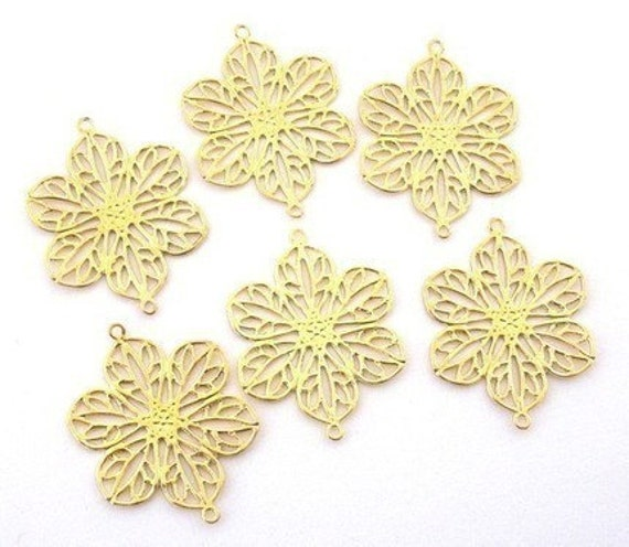 Filigree links - 6 bright gold plated brass flowers - lead safe, 26x20mm