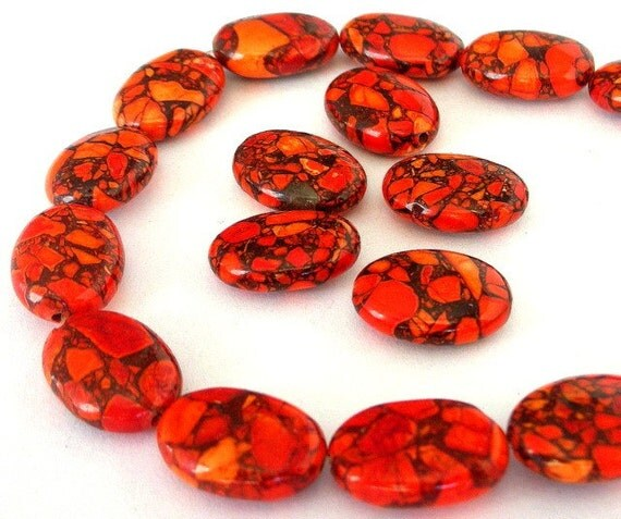 Orange magnesite beads, Qty 10, persimmon