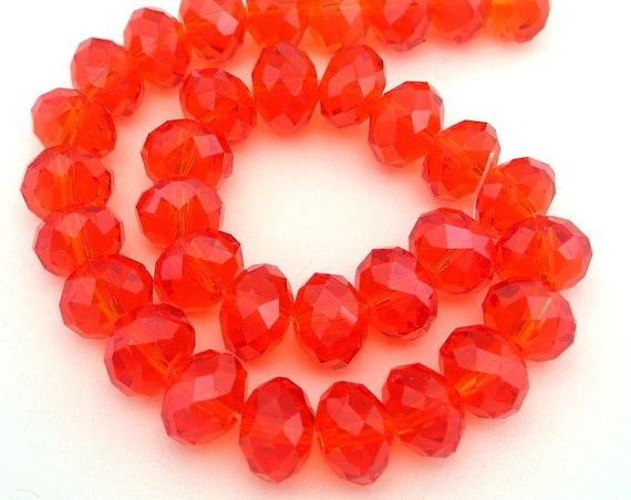 22 hyacinth orange beads, 8mm orange Chinese crystal rondelles, bright orange 8mm