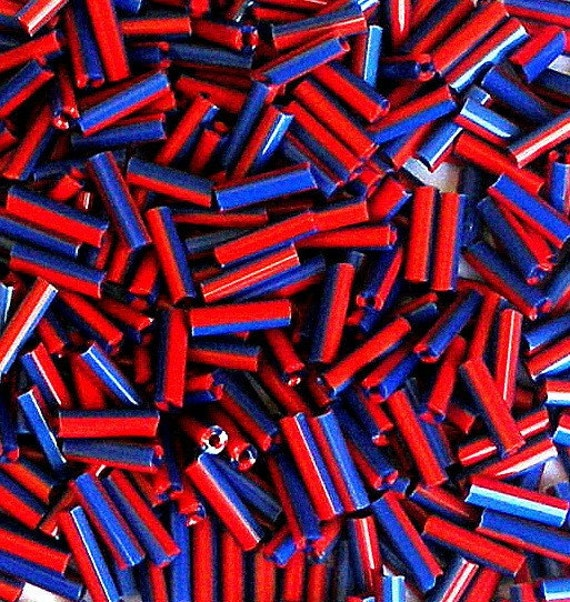TINY bugle beads, red and blue striped 7mm, 15 grams - about 420 beads