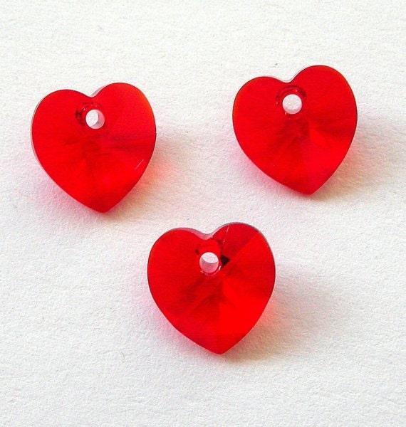 Red Swarovski crystal heart pendants, 10mm, Qty 3