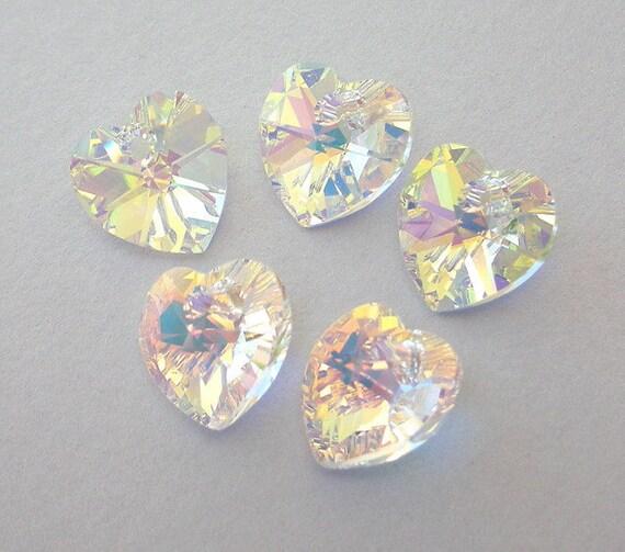 5 Swarovski crystal AB heart pendants, 10mm crystal AB hearts