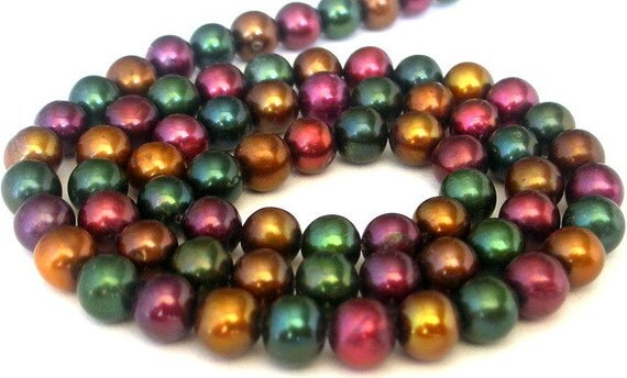 Multicolor freshwater pearls, 5mm, deep hues, 16 inches