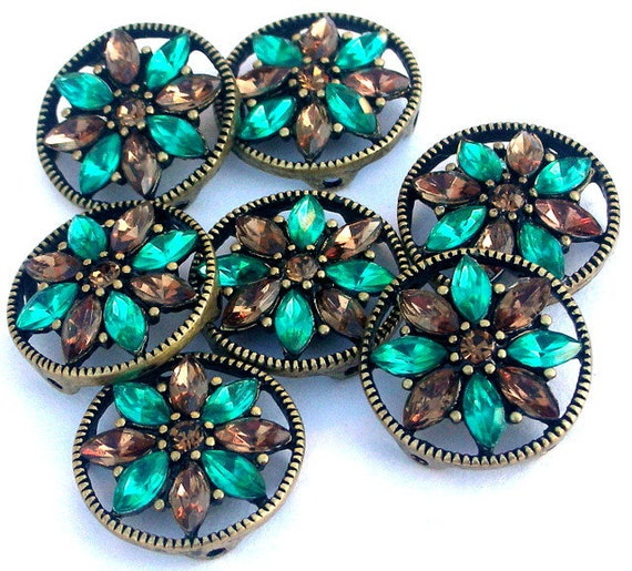 1 teal smoked topaz two hole slider bead, button or spacer