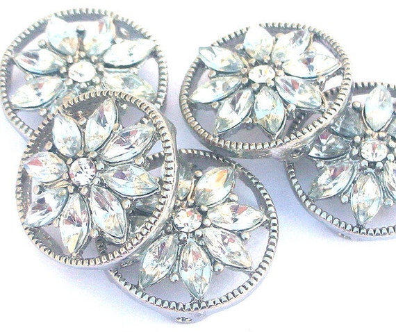2 clear floral two hole slider beads, buttons or spacers