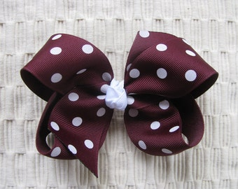 2289 Aggie maroon and white boutique bow
