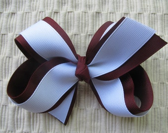 2508 Aggie maroon and white double ribbon boutique bow