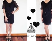 SALE Vintage Black Crochet Mini Dress