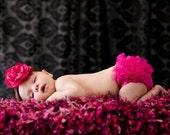 Girls Photo Prop 2x2 Baby Blanket. Dark Pink, Black, White Hot Pink Photography Prop  'Punkette' PuffPelt Texture Mini Rug