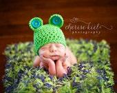 Mini Blanket Prop - Lime Green, Blue 2x2 Rag Blanket 'Blue Bonnets' Baby Newborn Prop Photo Rug