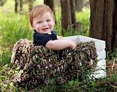 Brown Green Baby Blanket Photo Prop. Soft Texture 'Sylvan' PuffPelt 2x2 Mini Rug in Moss, Bark