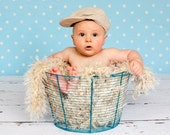 Beige Baby Prop Blanket Photo Prop (24in x 24 in) Rug 'Wholesome' - Baby's First Year Photos