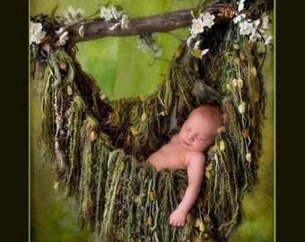 Green Fringe HAMMOCK Photo Prop. Newborn Baby Photography Prop Blanket. 'Verdant' Olive Moss