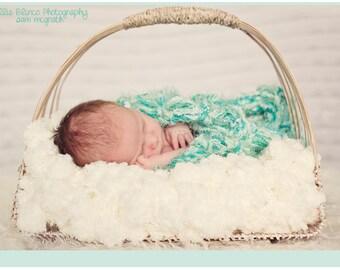 Aqua Blanket / Wrap Prop. 2x2 Blue Green THICK Rug Newborn Baby Wrap Prop Photo Prop. 'Jade'