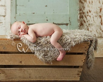 Neutral Baby Newborn Photography Prop. Fur Shaggy Texture Photo Props Thick in Taupe, Cream