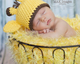 Yellow Photo Prop Baby Blanket. 2x2 Thick 'Duckling' PuffPelt Newborn Photography (Giraffe Hat Info, too)
