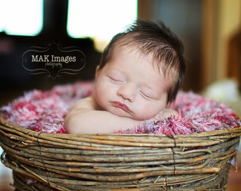 Girl Newborn Photography Prop 2x2 Baby Blanket. Red, Pink, White, Dark Chocolate Brown Photo Prop 'Sundae' PuffPelt Mini Rug