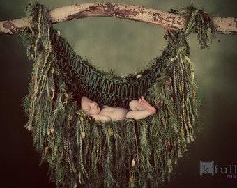 Hanging Moss Forest Green Props HAMMOCK. Baby Newborn Sling Baby Fringe Blanket Infant Photo Prop Newborn Sling 'Verdant'