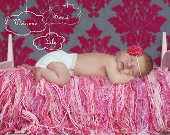 Pink Baby Girl FRINGE HAMMOCK / Blanket Photography Prop.  Soft Cushion Texture. 'Princess' Pale to Dark Pinks
