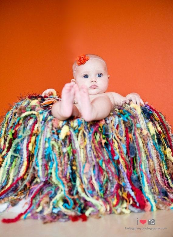 Multicolor Texture Fringe HAMMOCK Baby Blanket Photo Prop, 'Medley' Newborn Infant Photography Prop