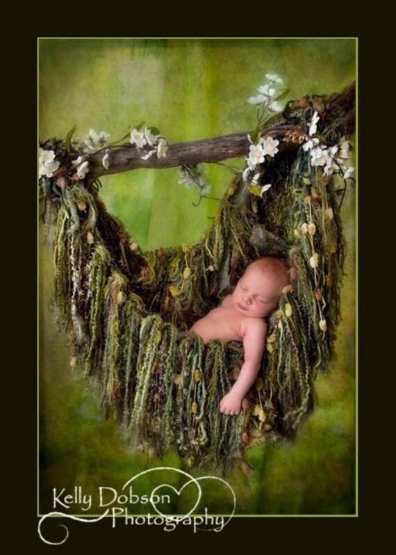 Green Fringe HAMMOCK Photo Prop. Newborn Baby Photography Prop Blanket. 'Verdant' Olive Moss
