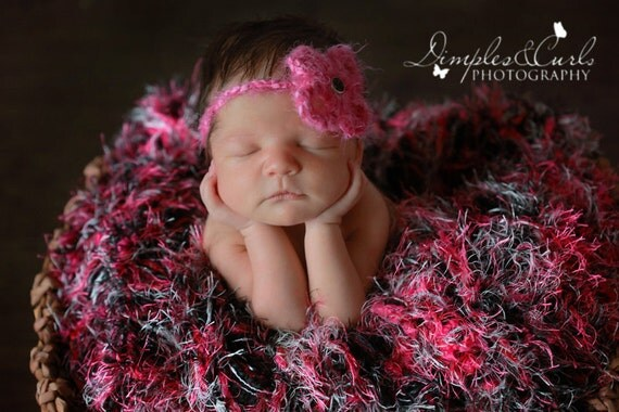 Hot Pink Black White Prop Blanket for Baby Photography. Baby Newborn Photo Prop,  'Punkette' Infant Prop Rug