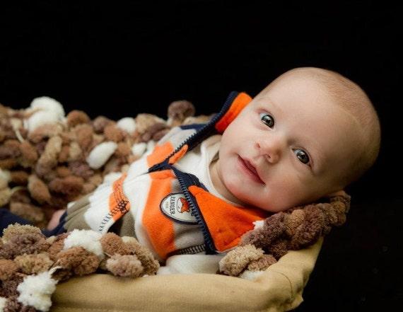 Photo Prop Baby Blanket. Brown, White Pom Pom Texture Newborn Infant Children